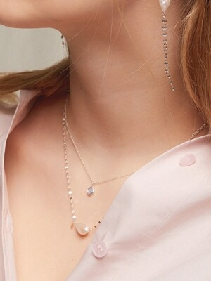 [SILVER 92.5] SKY POINT PEARL CHAIN NECKLACE