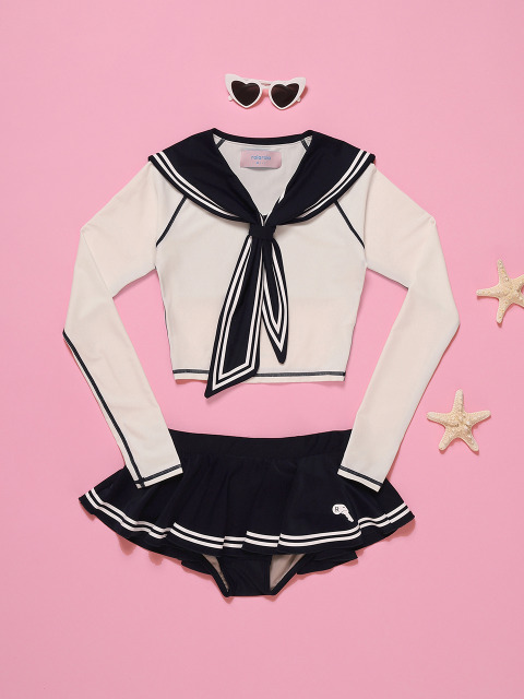 (SW-18381)TIED SAILOR CROP RASHGUARD WHITE