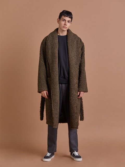 울테리 로브 코트/ WOOLTERRY ROBE COAT_Khaki_M