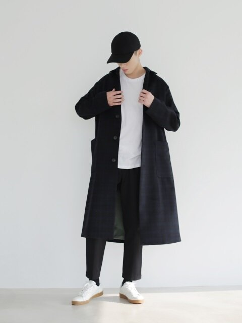 NAVY CHECK LONG COAT