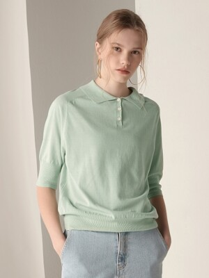 Short sleeve collar knit top - Mint