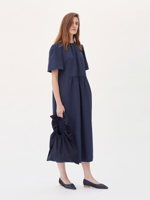 OVERSIZED GATHERED DRESS (NAVY)