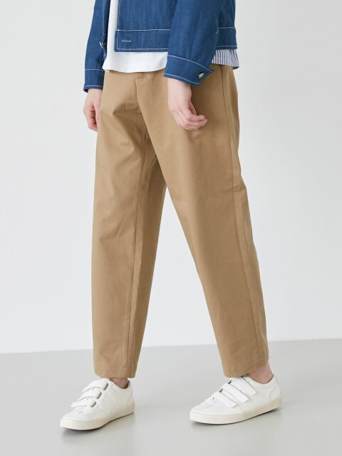 WIDE FIT COTTON PANTS (BROWN)