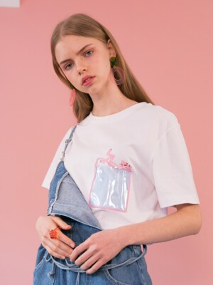[SS19 Pink Panther] PP Clear Pocket T-Shirts(White)
