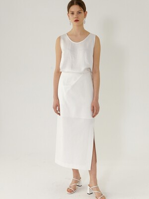 EMMA Side-Slit Mid Length Skirt(WHITE)