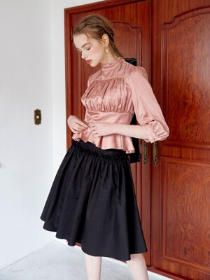Shirring volum skirt (Black)