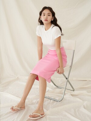 [SET]BASIC T-SHIRTS WHITE+R BACK SLIT SKIRT PINK