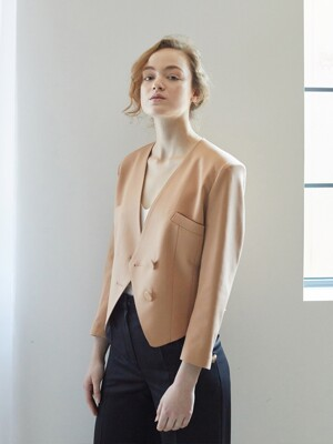 FEMME MINI JACKET / PEACH BROWN