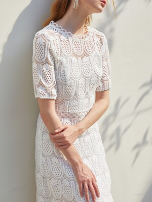 ANNE / Pineapple Lace Long Dress (white)