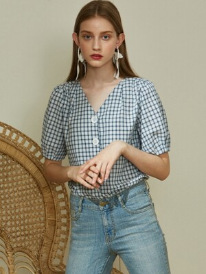 iuw420 V-neck check blouse (blue)