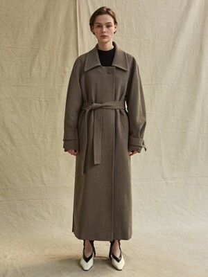 19FW LOW COLLAR COAT - BROWN