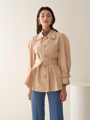 VOLUME SLEEVE SHORT TRENCH BEIGE