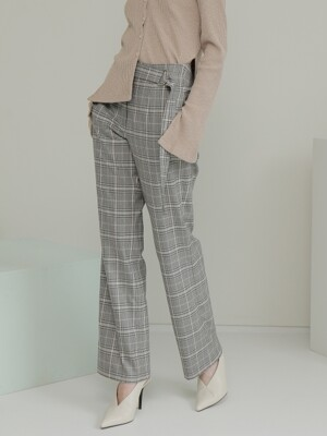19FALL BELTED PANTS /CHECK