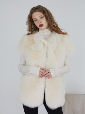 CREAM FOX FUR VEST