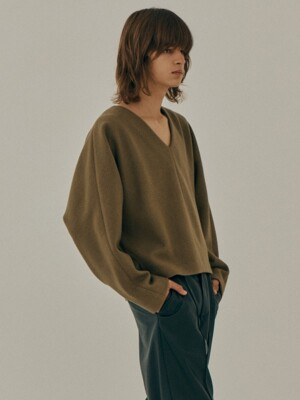 (For men) Eclipse Wool V Neck Crop Top / Beige
