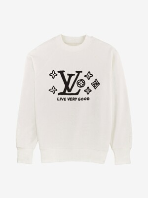 [UNISEX] 19FW LIVE VERY GOOD SWEATSHIRT WHITE/BLACK EGY76