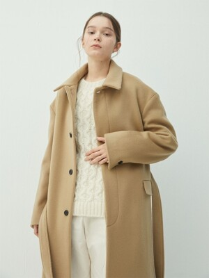 BEIGE wool oversized drop shoulder long maccoat(KJ039)
