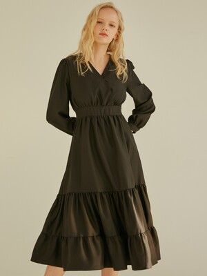 V LONG FRILL ONE-PIECE BLACK