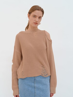 DAMAGE HOLE KNIT (beige)