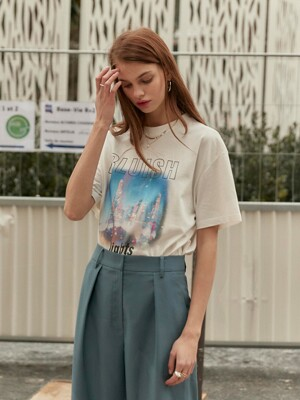 Oversized Bluish Print Tee in White_VW0SE0940