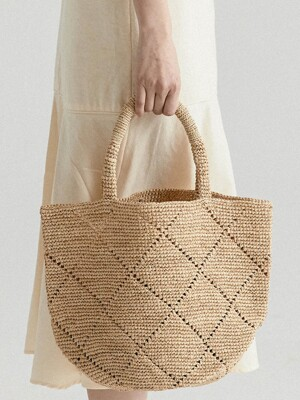PATTERN RAFFIA NATURAL BAG