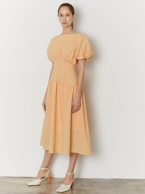 SHIRRING PINTUCK DRESS_ORANGE