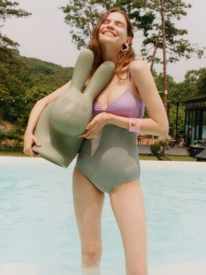 [FRONTROW X EENK] Cut-out Monokini Swimwear_LILAC GREY