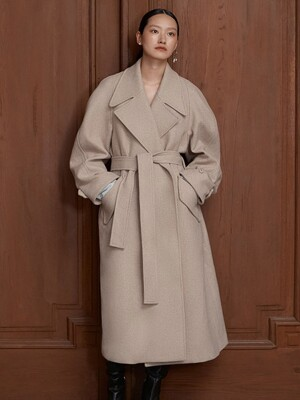 [EXCLUSIVE] WOOL BELT COAT - OATMEAL