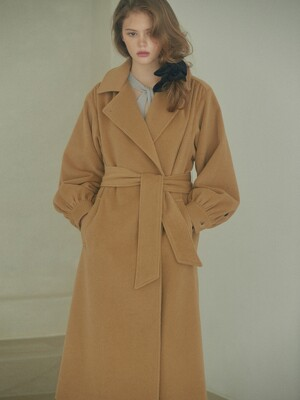 shirring-sleeve hooded wool-blend angora coat