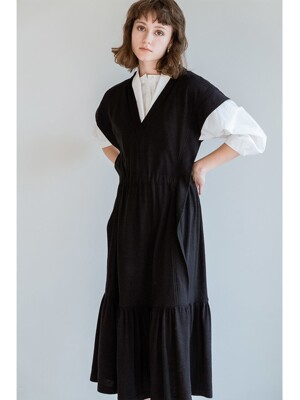 KNIT VEST DRESS BLACK