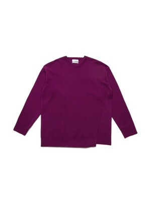 unbalanced cut half milano knit pullover_CWWAS20243PPX
