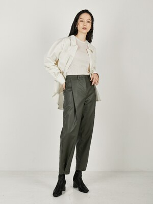 PINTUCK LEATHER PANTS (KHAKI)
