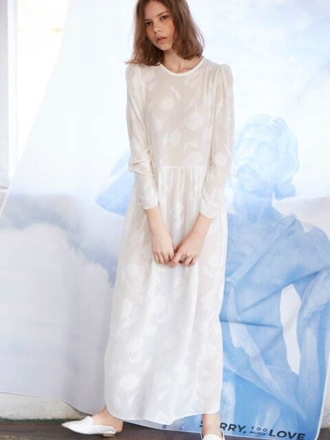 see-through lace long dress_white