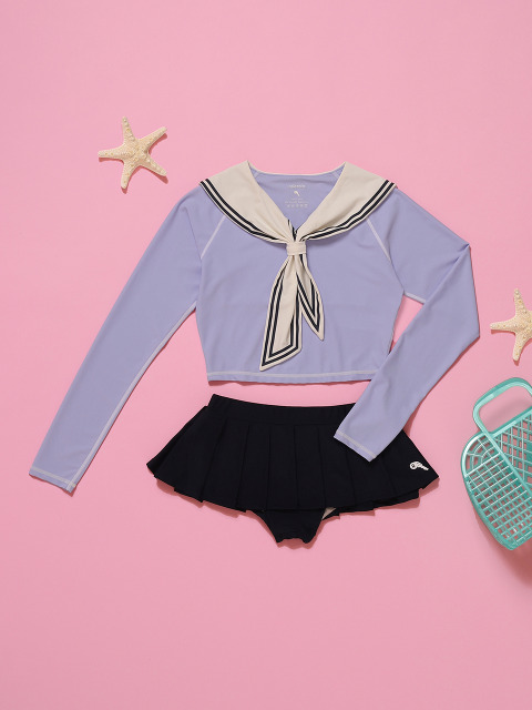(SW-18381)TIED SAILOR CROP RASHGUARD LAVENDER