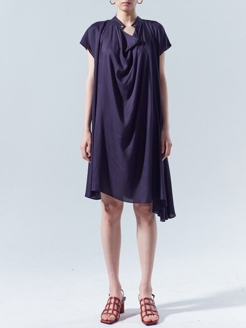 Draped Midi Dress_NAVY