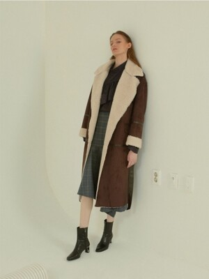 Marcel faux- shearing mustang coat _ Chocolate brown