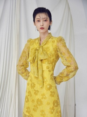 Ribbon tie dress [Yellow]