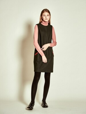 Sleeveless Stitch Wool Dress_ D/Green