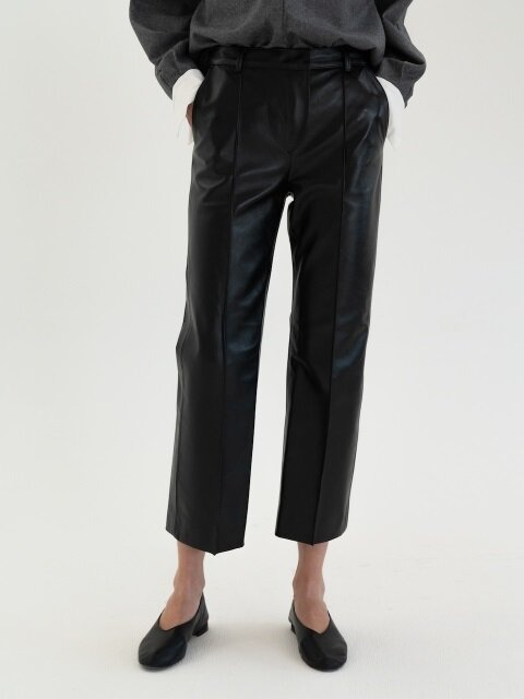 Pin-tuck Leather Pants