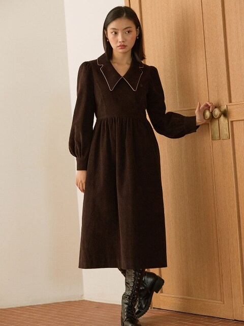 pink piping corduroy dress_brown