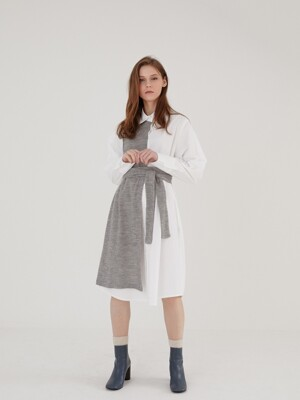 KNIT SHIRT DRESS GRAY