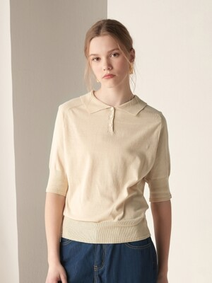 Short sleeve collar knit top - Beige