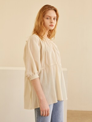 19SS SHIRRING STRING BLOUSE LIGHT BEIGE