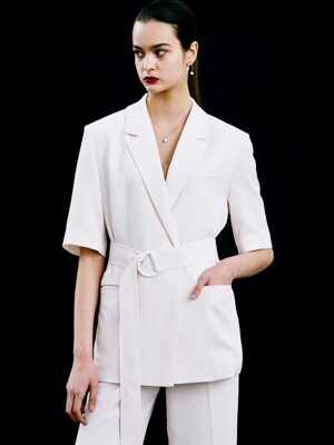 half sleeve belt jacket (ivory)