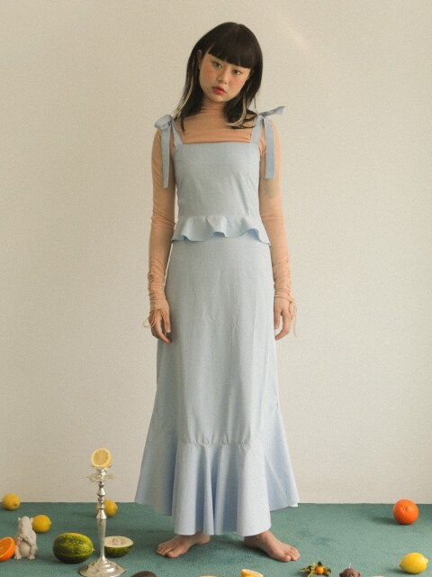 SMOCK RIBBON LONG DRESS_SKY BLUE