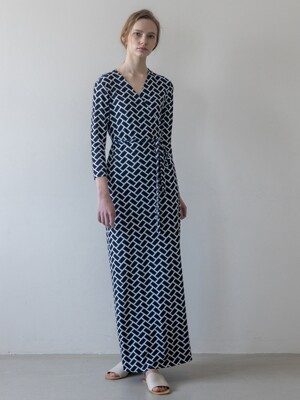Wrap Dress_(Navy Multi)