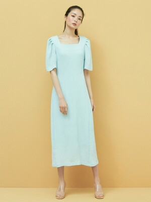 Square neck Minimal Dress in Sky Blue
