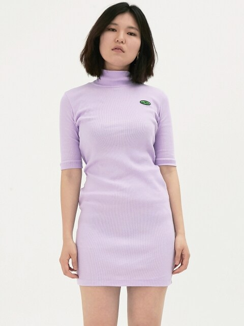 TURTLENECK LOGO TIGHT DRESS_LAVENDER