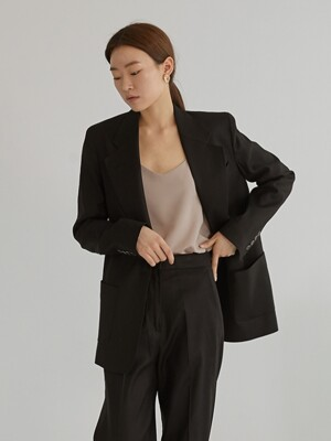 Linen light jacket_Black