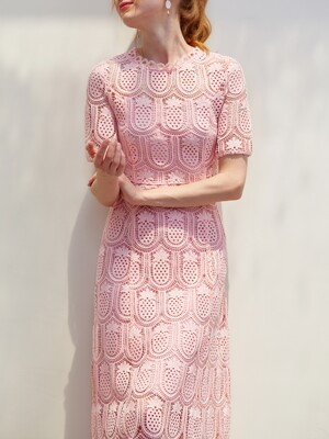 ANNE / Pineapple Lace Long Dress (pink)